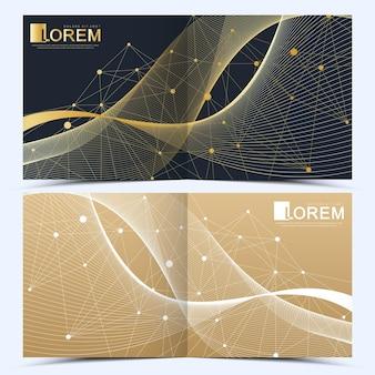 정사각형 브로셔, 전단지, 전단지, 표지, 카탈로그, 잡지 또는 연례 보고서를 위한 현대적인 벡터 템플릿. 비즈니스, 과학 및 기술 디자인 책 레이아웃입니다. 황금 파도와 프리젠 테이션.