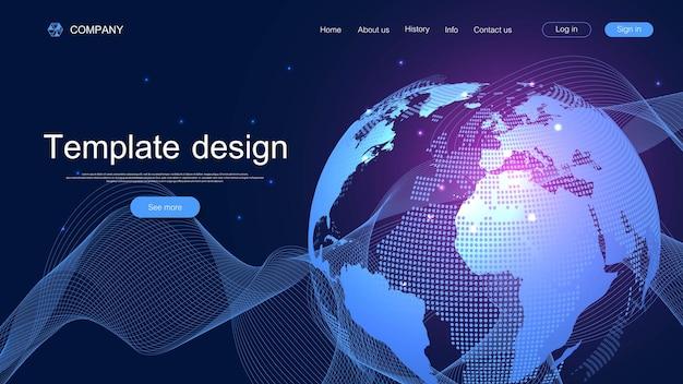 웹사이트 디자인을 위한 현대적인 벡터 템플릿입니다. 다채로운 동적 파도와 비즈니스 프레젠테이션입니다. 글로벌 소셜 네트워크 연결. 혁신 인터넷 개념 방문 페이지입니다.