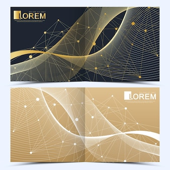 Modern vector template for square brochure, leaflet, flyer, cover, catalog, magazine or annual report . business, science and technology design book layout. presentation with golden waves.