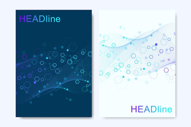 Modern vector templates for brochure, cover, banner, flyer, annual report, leaflet. abstract art composition with connecting lines and dots. waves flow. digital technology, science or medical concept.