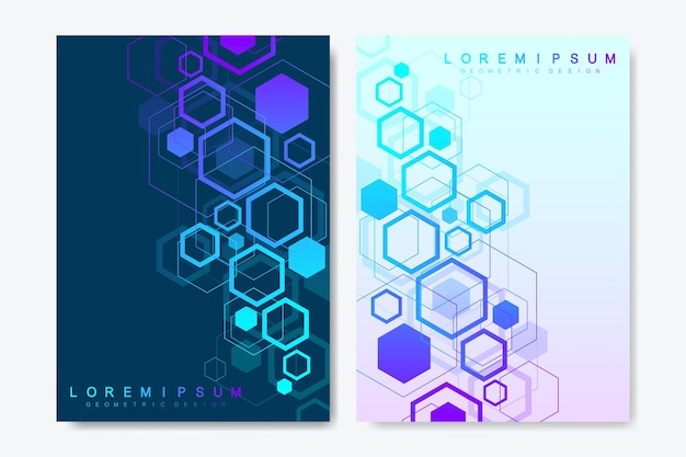 Modern vector templates for brochure, cover, banner, flyer, annual report, leaflet. abstract art composition with hexagons, connecting lines and dots. wave flow. digital technology or medical concept.