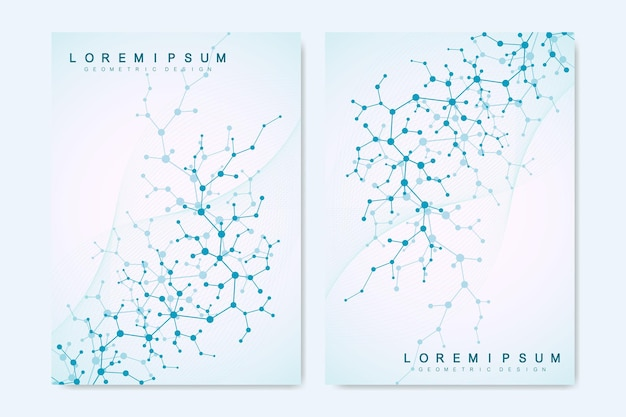 Modern vector templates for brochure, cover, banner, flyer, annual report, leaflet. abstract art composition with molecule. digital technology, chemistry, science or medical concept.