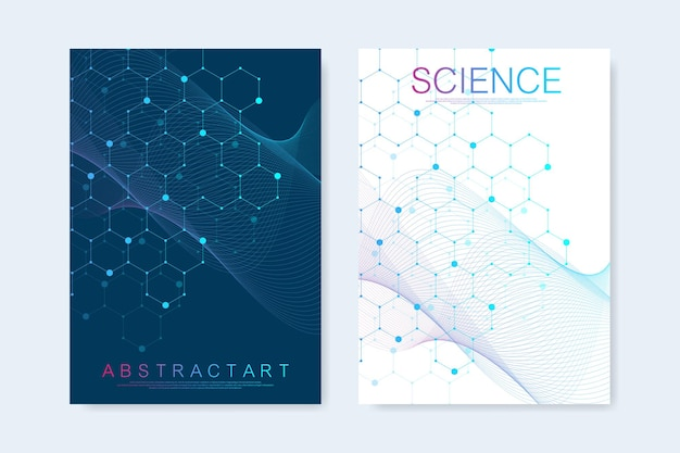 Modern vector templates for brochure, cover, banner, flyer, annual report, leaflet. hexagonal molecular structures. futuristic technology background in science style. graphic hex background.