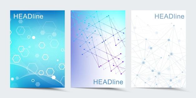 브로셔, 표지, 배너, 전단지, 연례 보고서, 전단지에 대한 현대 벡터 템플릿. 선과 점을 연결하는 추상 미술 구성. 디지털 기술, 과학 또는 의료 개념.