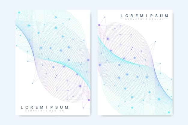 브로셔, 표지, 배너, 전단지, 연례 보고서, 전단지에 대한 현대 벡터 템플릿. 선과 점을 연결하는 추상 미술 구성. 웨이브 플로우. 디지털 기술, 과학 또는 의료 개념