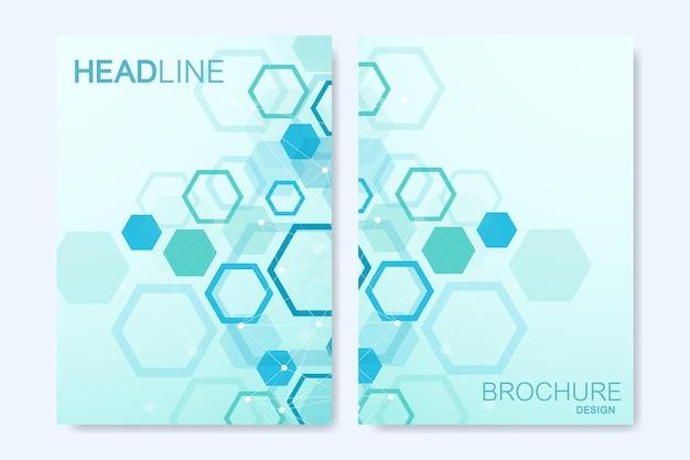 브로셔, 표지, 배너, 전단지, 연례 보고서, 전단지에 대한 현대 벡터 템플릿. 육각형, 연결 선 및 점으로 추상 미술 구성. 디지털 기술 또는 의료 개념입니다.