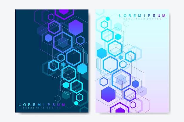 브로셔, 표지, 배너, 전단지, 연례 보고서, 전단지에 대한 현대 벡터 템플릿. 육각형, 연결 선 및 점으로 추상 미술 구성. 웨이브 플로우. 디지털 기술 또는 의료 개념입니다.