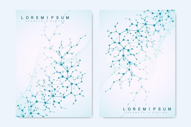 브로셔, 표지, 배너, 전단지, 연례 보고서, 전단지에 대한 현대 벡터 템플릿. 분자와 추상 미술 구성입니다. 디지털 기술, 화학, 과학 또는 의료 개념.