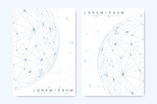 Современные векторные шаблоны для брошюры, обложки, флаера, годового отчета, листовки. минималистичный дизайн обложек. будущий геометрический шаблон. наука, медицина, технология фона.