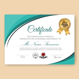 Modern verified certificate background template with turquoise color scheme. vector illustration