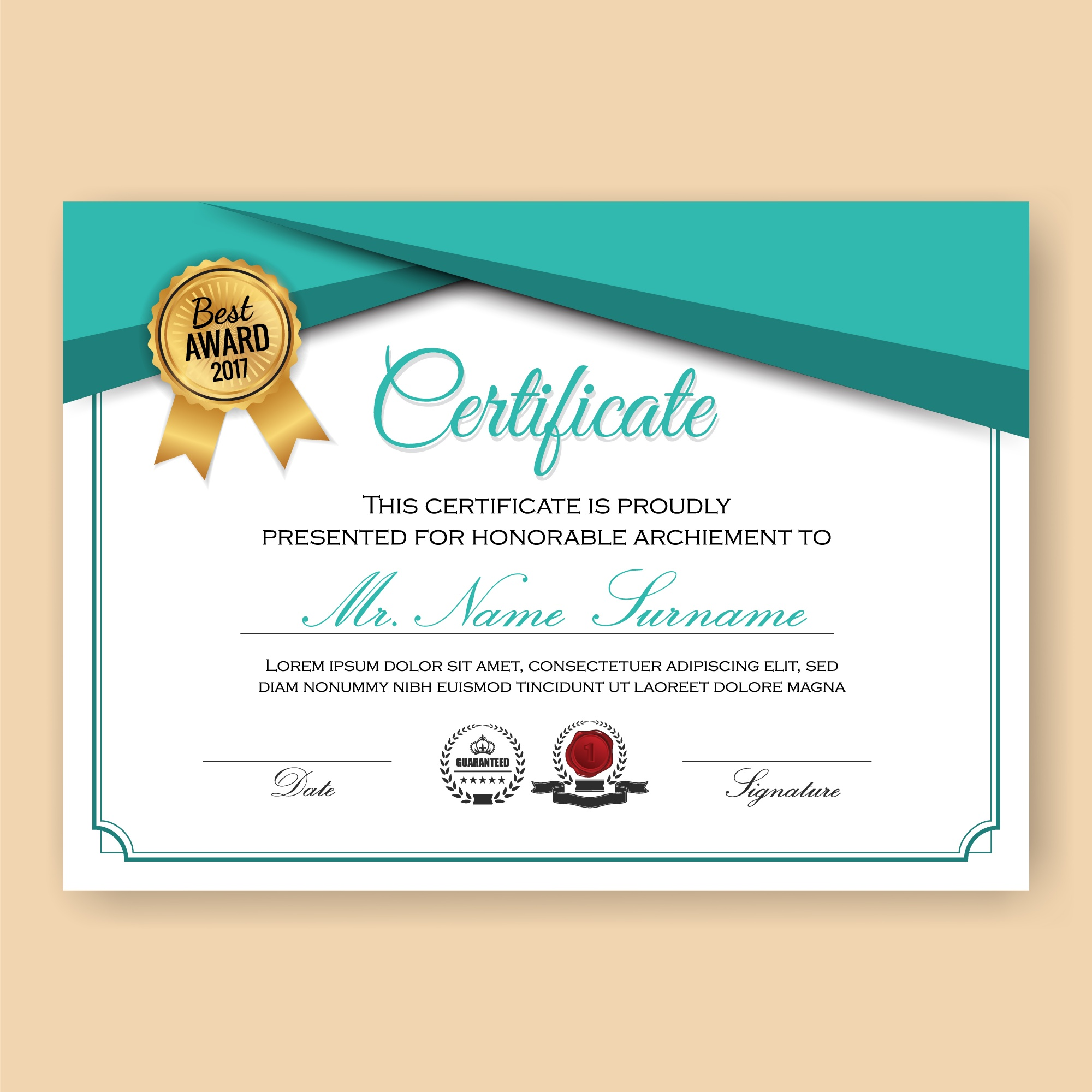 Modern Verified Certificate Background Template with Turquoise Color Scheme