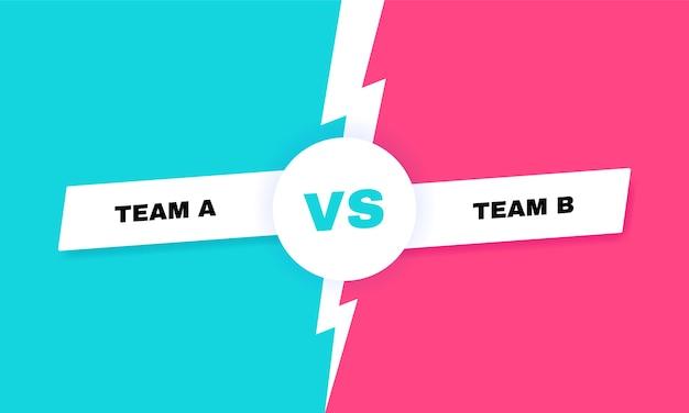 현대 대 전투 배경. 번개가 치는 대 전투 헤드 라인. 참가자, 선수 또는 팀 간의 경쟁. 삽화.
