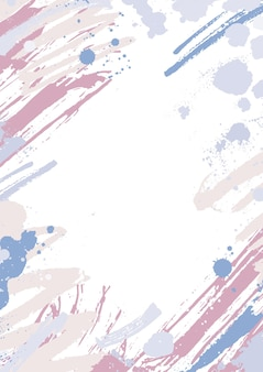 Modern vertical backdrop decorated with pink and blue pastel paint traces, blots and brush strokes on white.