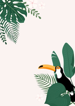 Modern vertical banner with tropical leaves and toucan bird.