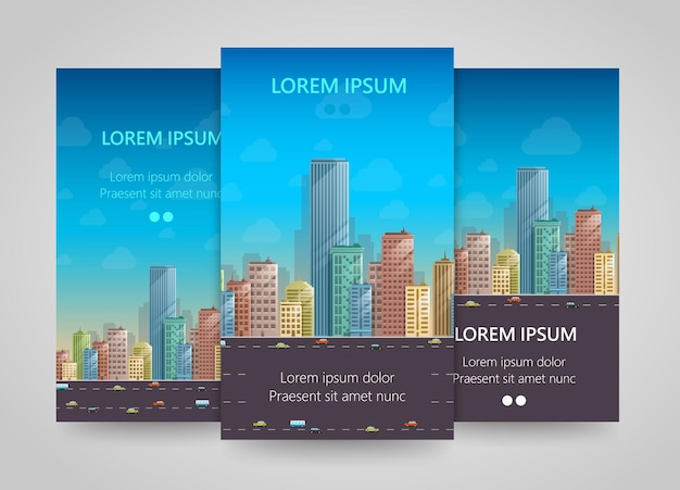Modern vertical banners, flat city, building flyer set, vector illustration