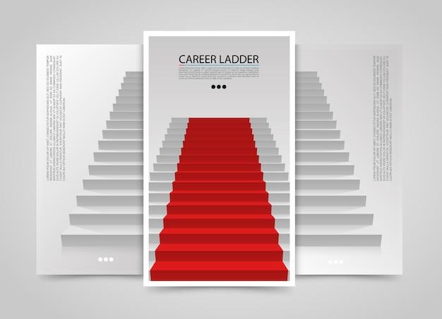 モダンな垂直バナー、レッドカーペットで表彰台、赤い階段の背景、ベクトル図