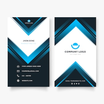 Modern vertical business card with blue shapes