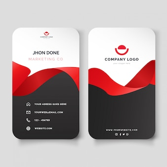 Modern vertical visit card with red ribbon