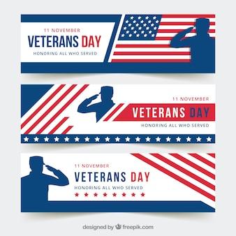 Modern veterans day banners