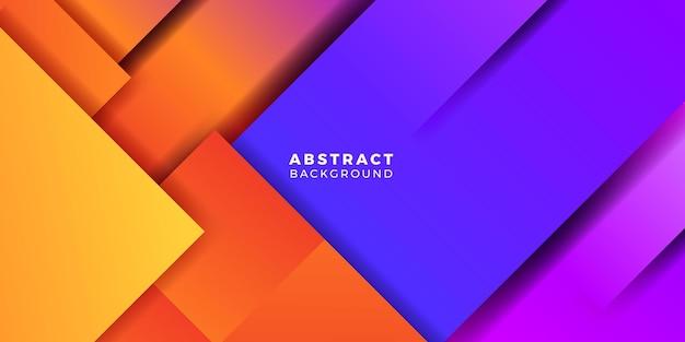 Современный яркий геометрический оранжевый и синий фиолетовый фиолетовый двухцветный абстрактный градиент концепции обложки плакат баннер шаблон для футуристических технологий