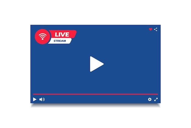 Окно современного видеоплеера в прямом эфире. интерфейс видеоплеера. кнопка прямой трансляции.