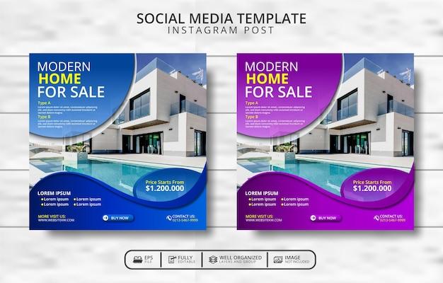 Современная вилла для продажи и недвижимости продвижение шаблона сообщения в социальных сетях