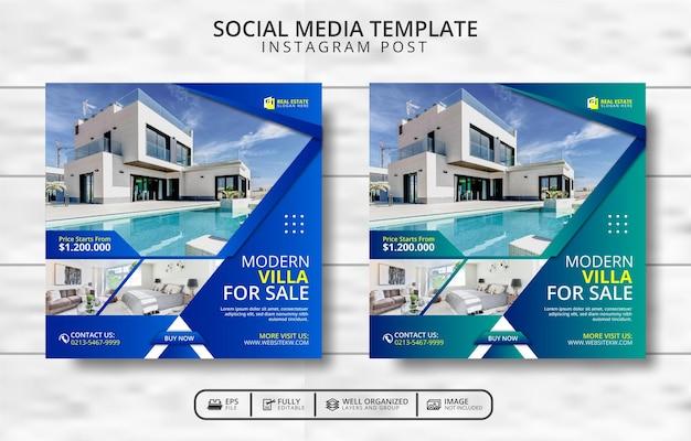 현대 빌라 판매 및 부동산 소셜 미디어 포스트 템플릿 프로모션