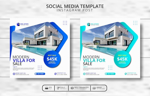 현대 빌라 판매 소셜 미디어 포스트 템플릿 프로모션