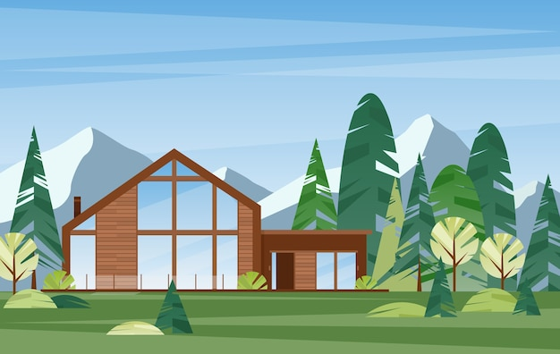 Modern village house. contemporary wooden building in forest. countryside home. villa in mountains