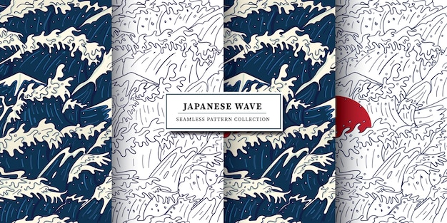 Modern vintage japanese ukiyo-e style stormy wave, raging ocean and red sun illustration seamless pattern