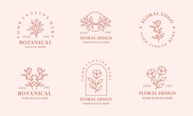 현대 빈티지 핑크 손으로 그린 꽃 식물 로고 그림