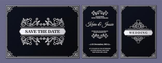 モダンなビンテージスタイルの招待状カードのデザイン
