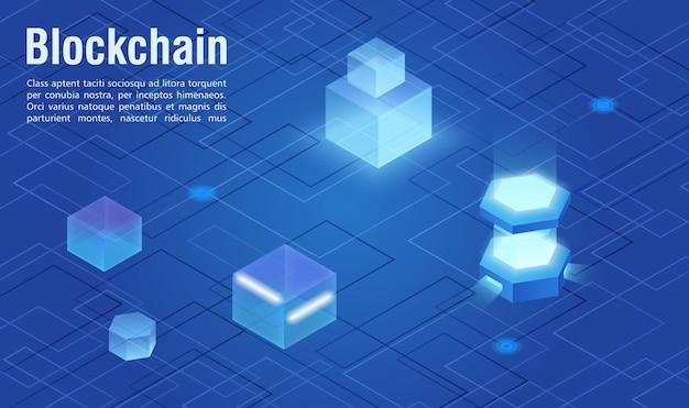 Modern virtual digital technology blockchain abstract isometric illustration concept