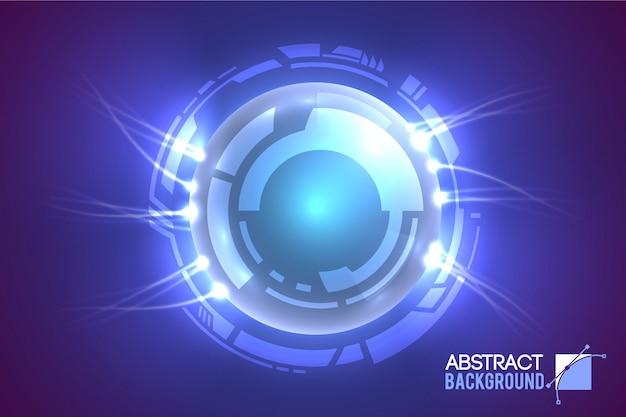 未来的な円に囲まれた発光する目を備えたモダンな仮想インターフェイスの概要