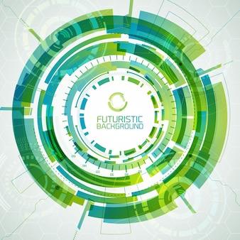 緑の色の未来的なインタラクティブなインターフェイスのさまざまな形や色合いの円と現代の仮想技術の背景