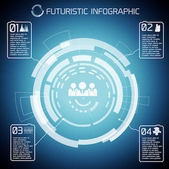 터치 스크린 원이있는 현대 가상 기술 배경은 사람들의 인포 그래픽 픽토그램을 캡션합니다.