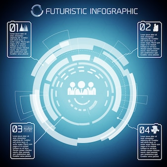 Modern virtual technology background with touch screen circles captions infographic pictograms of people