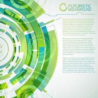 Концептуальный фон современной виртуальной технологии с декоративными футуристическими кругами, сенсорными элементами интерфейса и редактируемым текстом