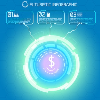 Modern virtual technology conceptual background with decorative light circle and dollar sign with rectangular infographic captions