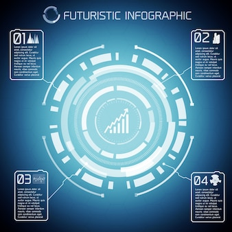 Infografica moderna tecnologia virtuale con testo diagramma chiaro e icone su sfondo blu
