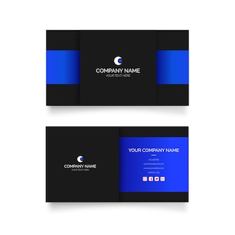 Modern visit card with blue shapes