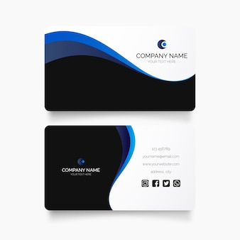 Modern visit card with blue waves