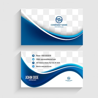 Modern visiting card with blue waves Free Vector