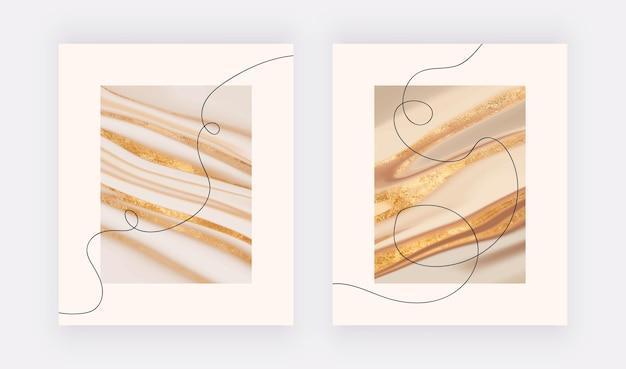 Современные настенные принты с геометрическими линиями и жидкой текстурой