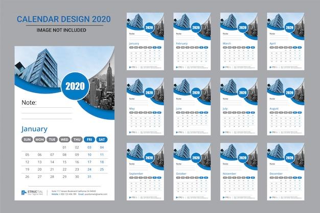 Modern wall calendar 2020