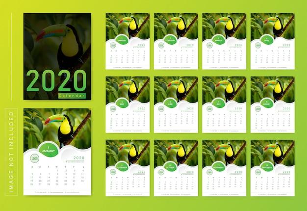 Modern wall calendar 2020 Premium Vector