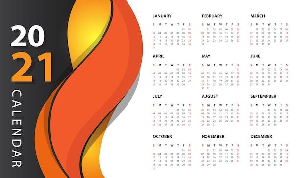 現代の壁掛けカレンダー2021