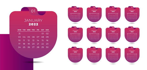 Modern wall calendar 2022