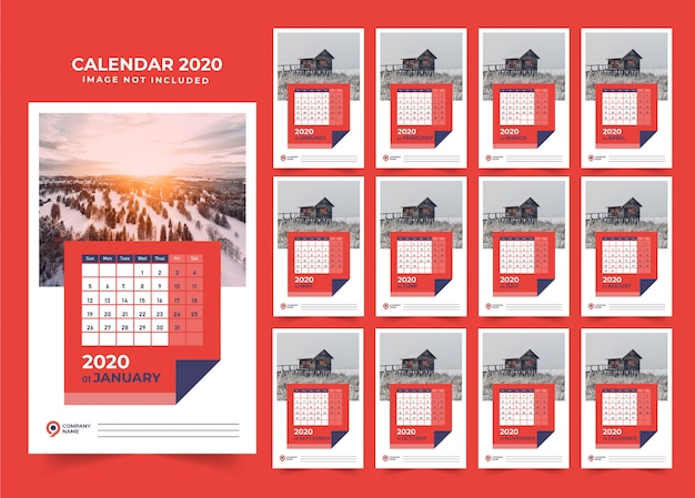 Modern wall calendar design 2020