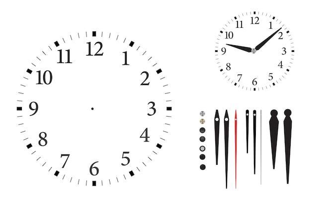 Современные настенные часы в стиле ретро с арабскими цифрами. набор конструкторов. разные виды часовых стрелок. черный циферблат на белом фоне